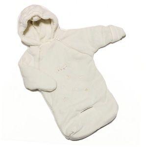Baby White Fleece Hooded Zip-Up Sleep Sack 0-12mo